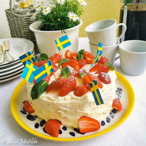 Jordgubbtårta, Erdbeertorte, Mittsommer Schweden